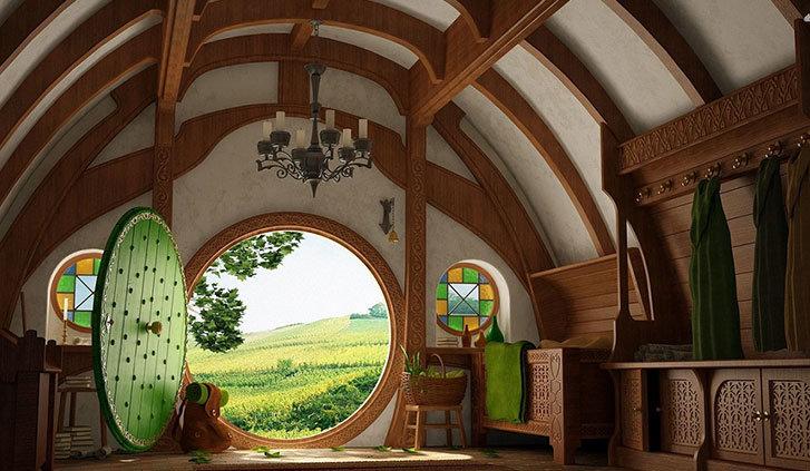 L'interno delle case degli hobbit